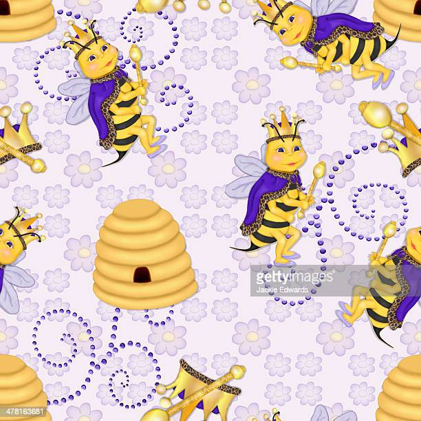 a seamless tile of a queen bee and bee hive - queen bee点のイラスト素材/クリップアート素材/マンガ素材/アイコン素材