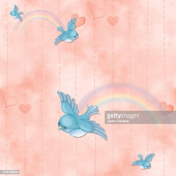 ilustraciones, imágenes clip art, dibujos animados e iconos de stock de a seamless tile of blue birds and rainbows - animal vertebrado