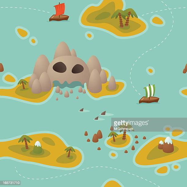 seamless treasure hunt - skull island - kong: skull island stock illustrations