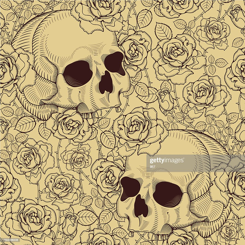 seamless with roses and skulls