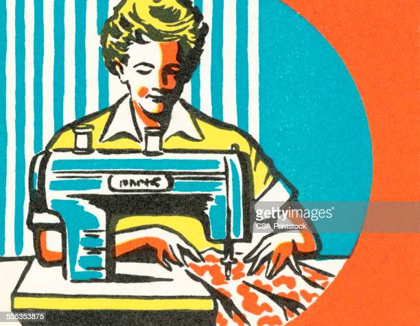 seamstress - stereotypical homemaker stock illustrations