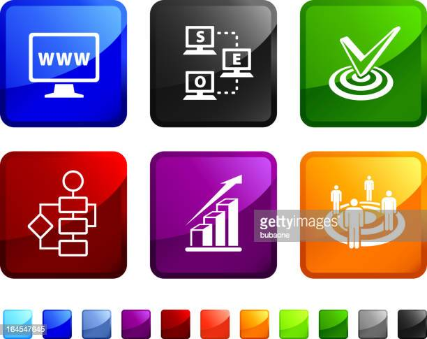 suchmaschinenoptimierung und internet-marketing-vektor icon-set - zielgruppe stock-grafiken, -clipart, -cartoons und -symbole