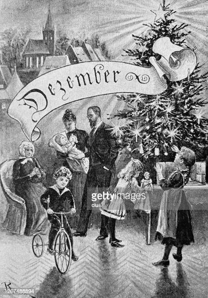 seasons: cyling in december, christams eve - christmas past and christmas present stock illustrations