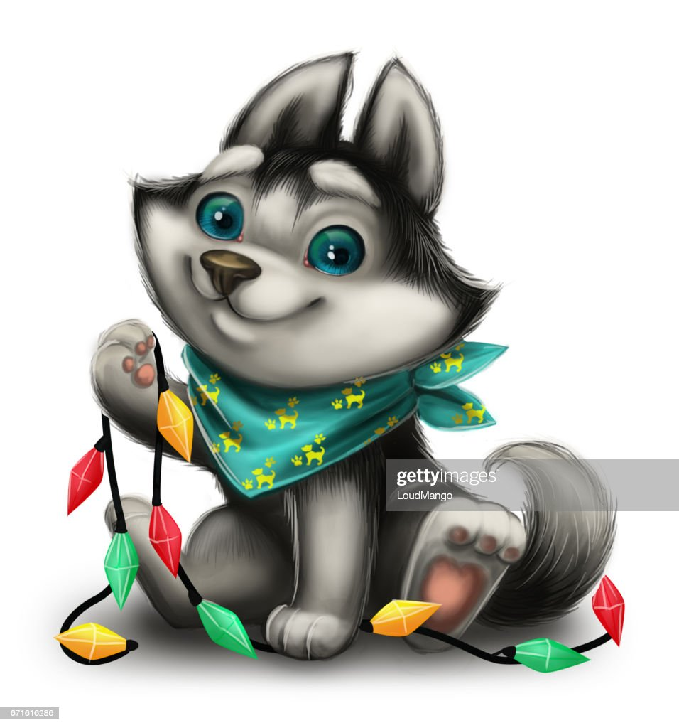 Seasons Greetings With Cute Husky Puppy Playing With Holiday Toys