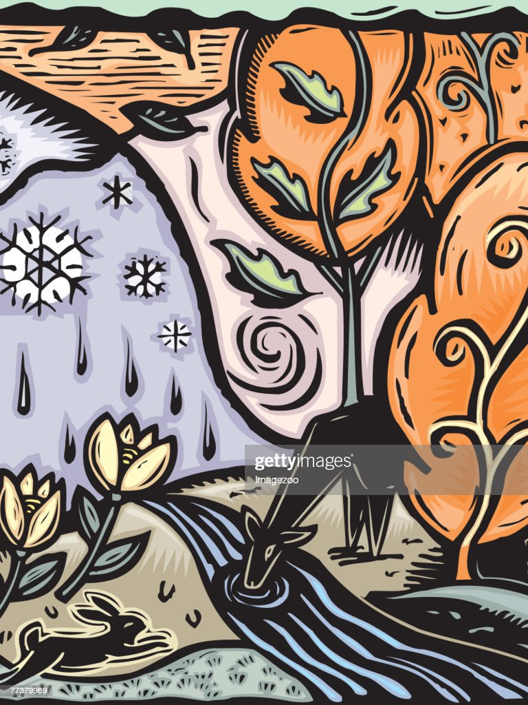 Seasons in nature : Illustration