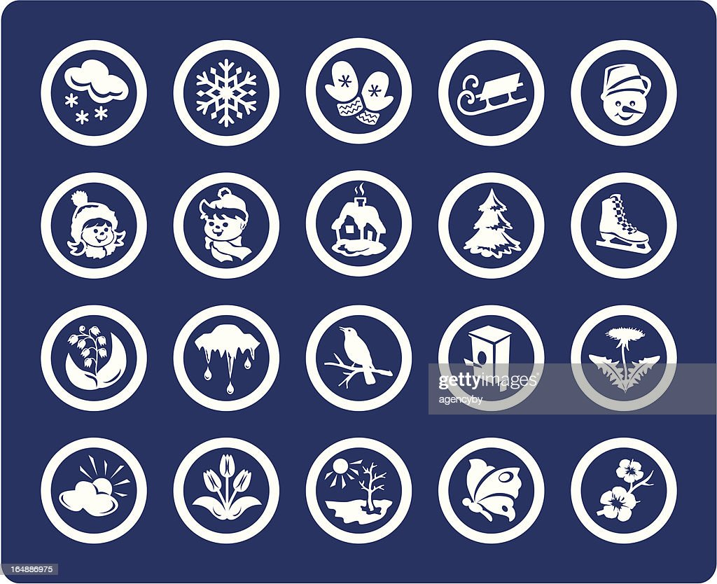 Seasons: Winter and Spring 20 vector icons  (set #03)