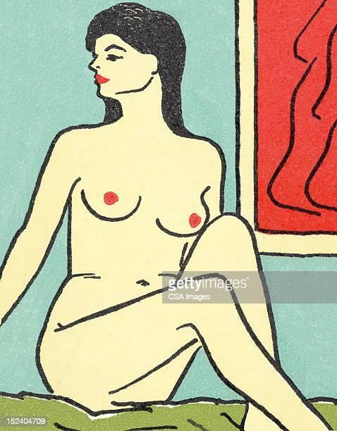ilustraciones, imágenes clip art, dibujos animados e iconos de stock de mujer desnuda sentada - mujer desnuda