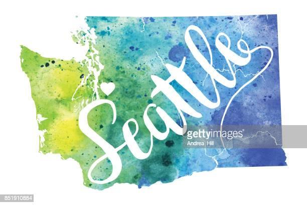 Seattle, Washington USA Vector Watercolor Map