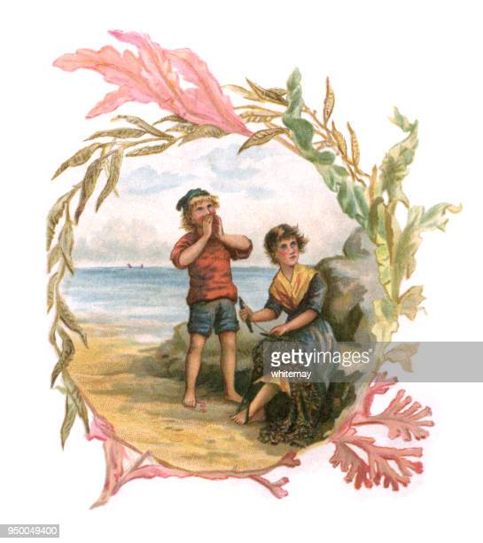 Seaweed frame with Victorian boy and girl on the beach