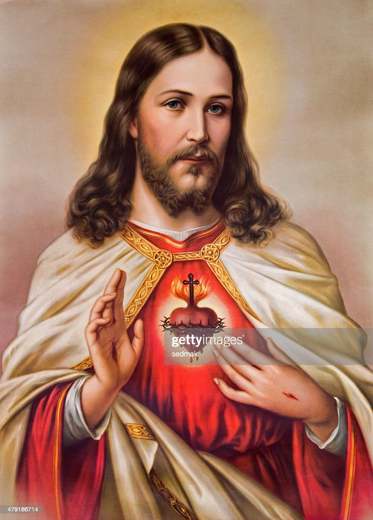 Sebechleby - Typical catholic image of Jesus Christ heart : Stock Illustration