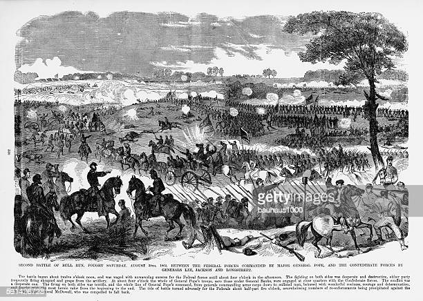 second battle of bull run, manassas, virginia, civil war engraving - american civil war battle stock illustrations