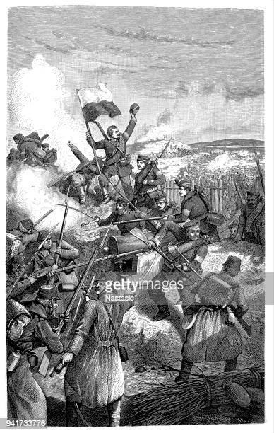 Second Schleswig War 1864, Battle of Dybbol, 18.4.1864, Prussian troops storming the Danish redoubts