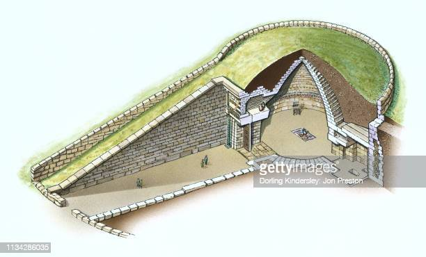 sectioned view of treasury of atreus at mycenae, greece - mycenae stock illustrations