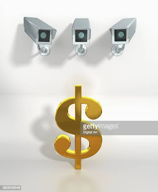 3 security cameras watching a dollar sign - finanzen stock illustrations