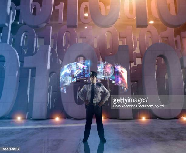 security officer with hologram screens guarding binary code - honolulu stock illustrations