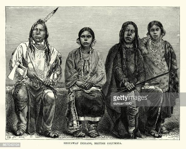 secwepemc first nations people, british columbia, 19th century - indigenous north american culture stock illustrations, clip art, cartoons, & icons