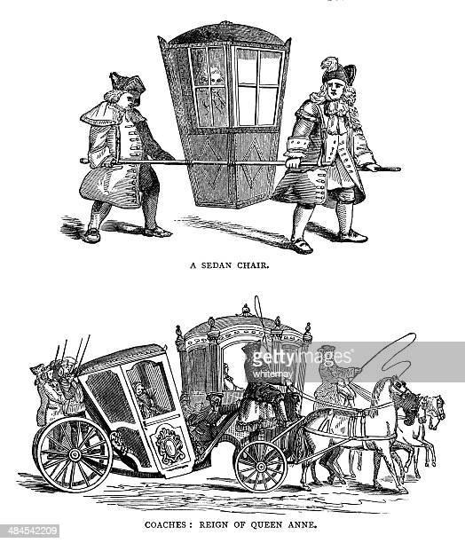 sedan chair and queen anne era coaches - sedan stock illustrations, clip art, cartoons, & icons