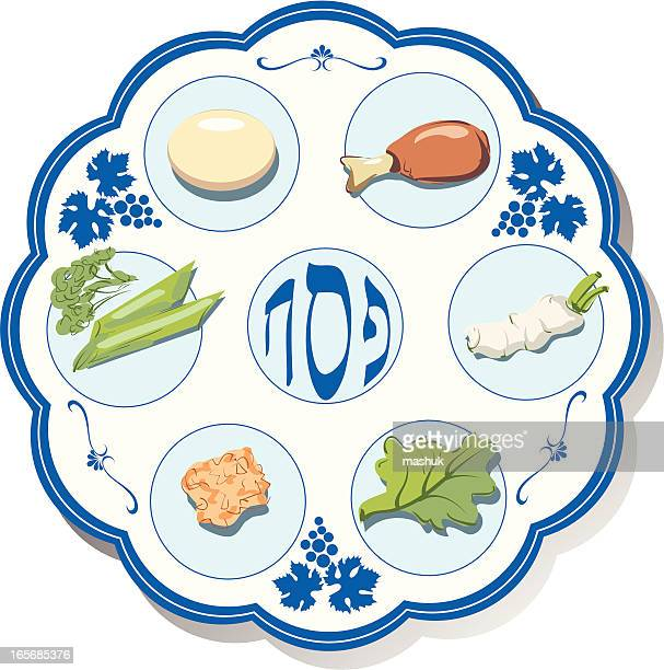 seder plate - passover stock illustrations