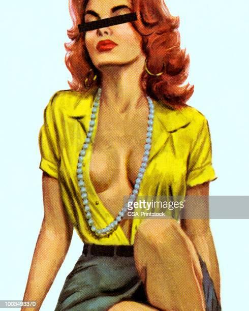 ilustrações, clipart, desenhos animados e ícones de mulher sedutora - decote peito