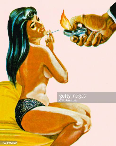 illustrazioni stock, clip art, cartoni animati e icone di tendenza di seductive woman with cigarette - donna nuda