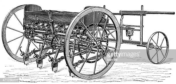 seeder - harrow agricultural equipment stock illustrations, clip art, cartoons, & icons
