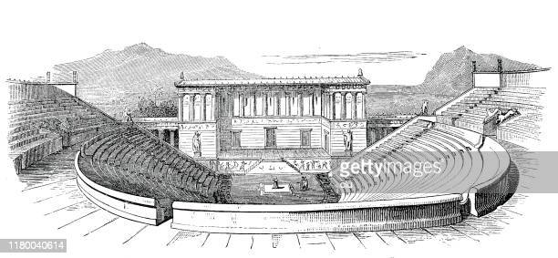 segesta theater, sicily - epidaurus stock illustrations