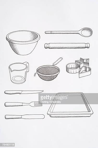 selection of cook's utensils, including mixing bowl, spoon, rolling pin, knife, fork, palette knife, baking tray, biscuit cutters, and sieve - baking sheet stock illustrations