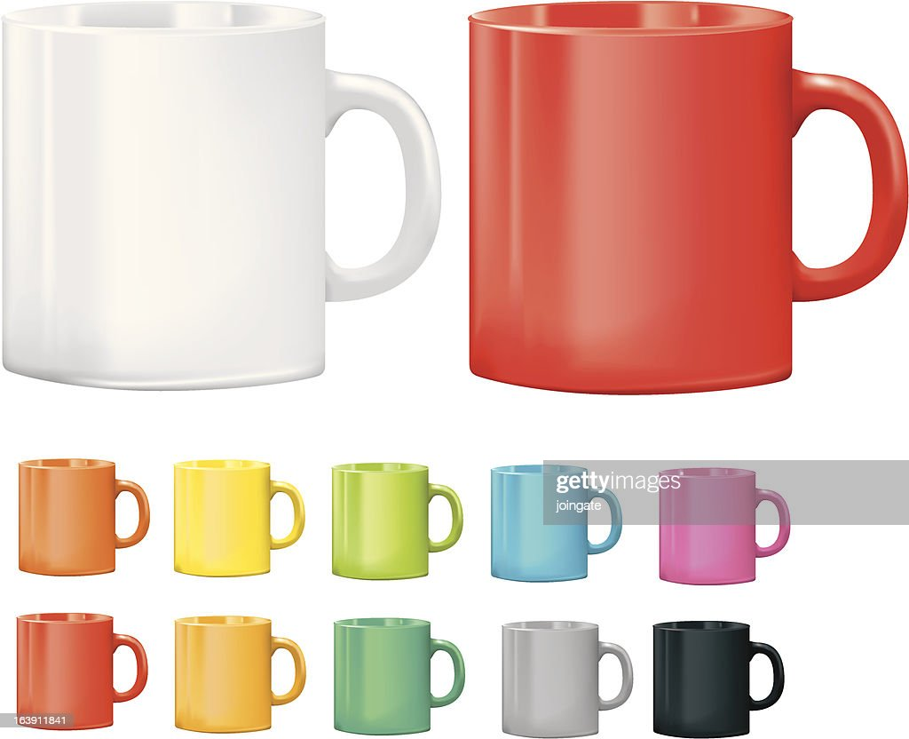 Selection of cups or mugs in different colours