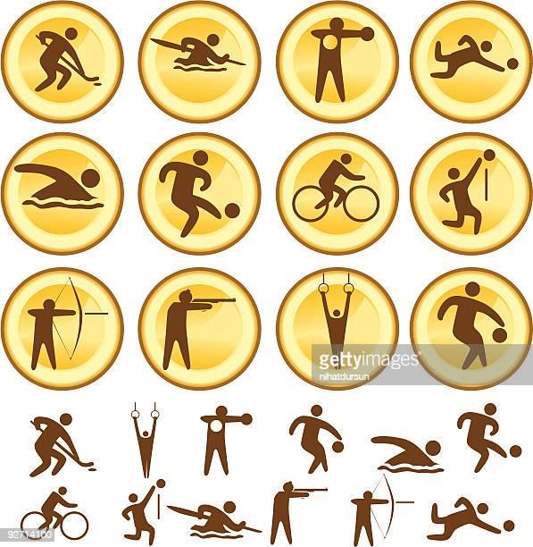 ilustraciones, imágenes clip art, dibujos animados e iconos de stock de selección de iconos de deportes - vóleibol de playa