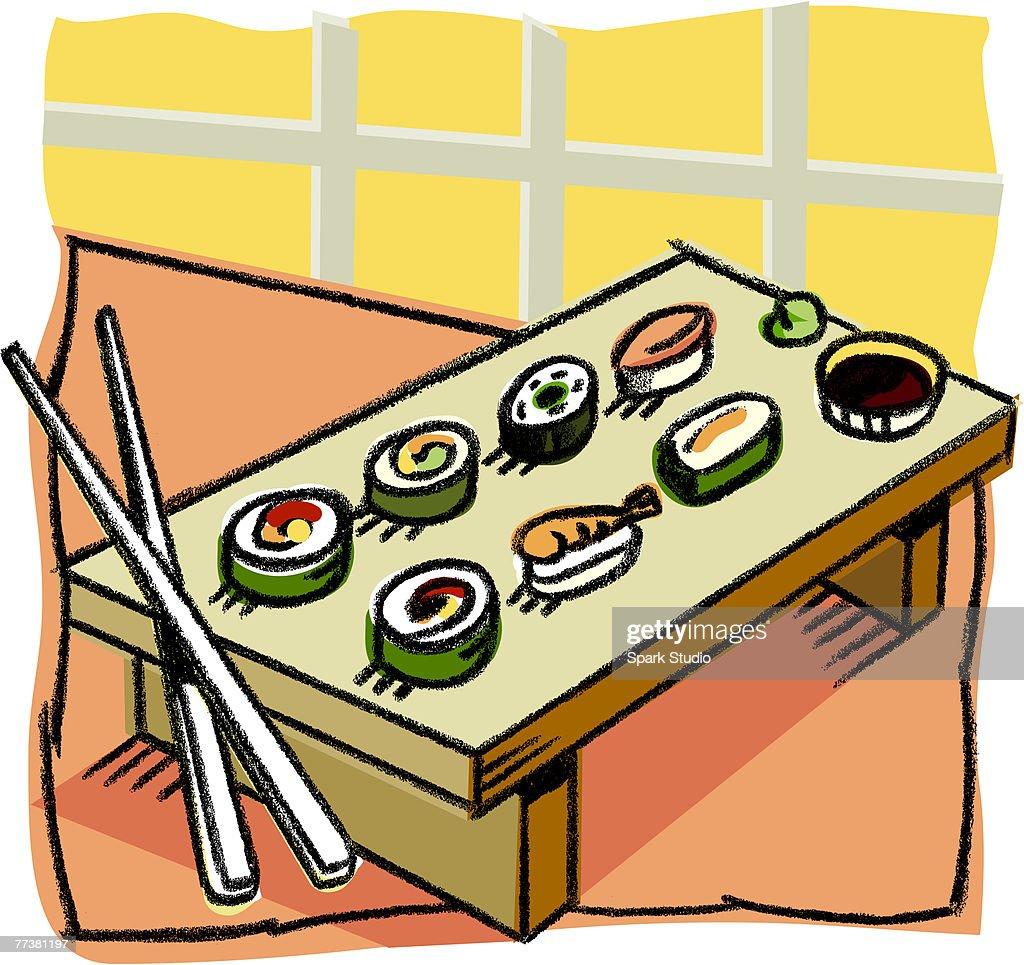 A selection of sushi : Illustration