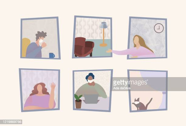self isolation people at home - illness prevention stock illustrations