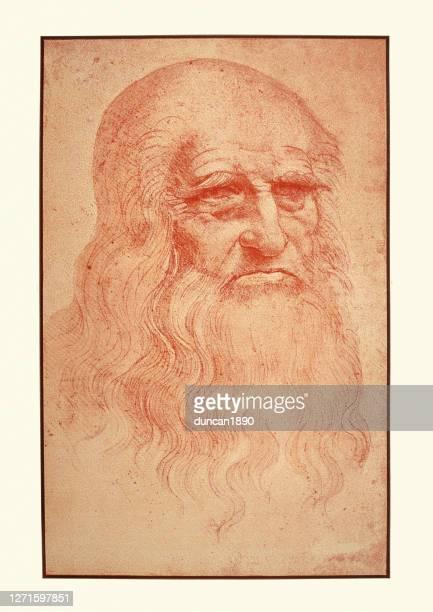 ilustraciones, imágenes clip art, dibujos animados e iconos de stock de autorretrato de leonardo da vinci, 1452 a 1519 - leonardo da vinci