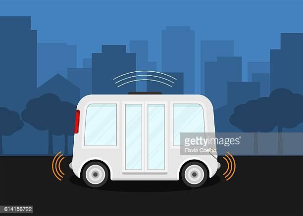 Self-driving bus digital illustration