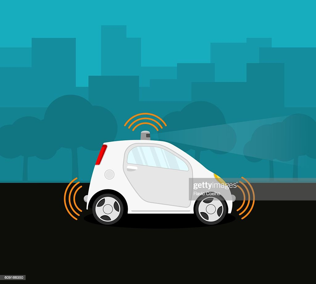 Self-driving car on the street : stock illustration
