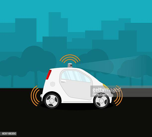 self-driving car on the street - transportation stock illustrations