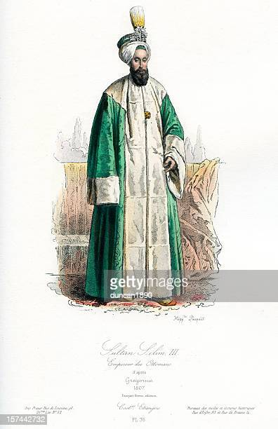 selim iii  sultan of the ottoman empire - ottoman empire stock illustrations