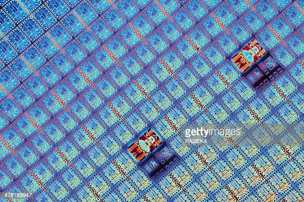 semiconductor wafer, artwork - close up stock illustrations