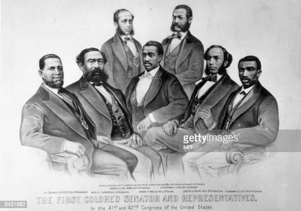 Senator Hiram Revels of Mississippi with some of the first black members of congress Benjamin Turner Robert De Large Josiah Walls Jefferson Long...