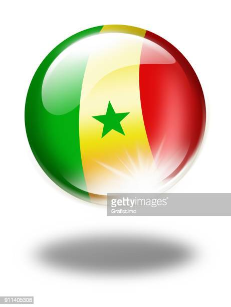 senegal button with senegalese flag isolated on white - senegal stock illustrations, clip art, cartoons, & icons