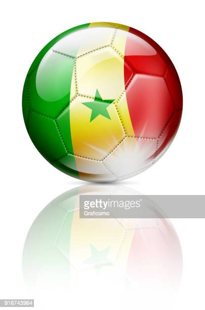 senegal soccer ball with flag isolated on white - senegal stock illustrations, clip art, cartoons, & icons