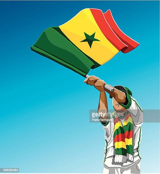 senegal waving flag soccer fan - senegal stock illustrations, clip art, cartoons, & icons