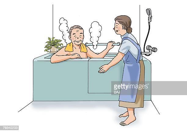 Senior adult man having a bath, Illustration, Side View