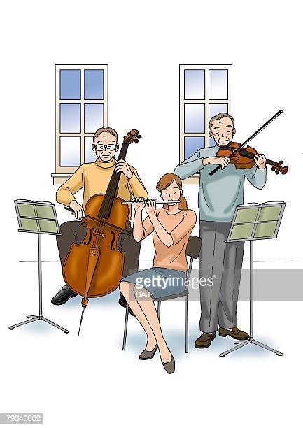 illustrations, cliparts, dessins animés et icônes de senior adult men and young adult woman playing music, illustration, front view - pupitre à musique