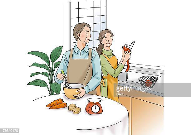 Senior couple cooking together, Illustration, Front View, Side View