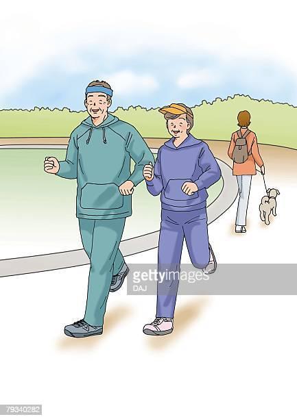 Senior couple jogging together, Illustration, Side View