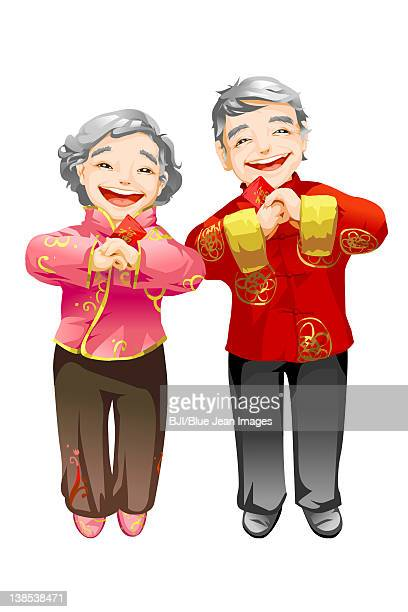 Senior couple offering Chinese New Year greetings