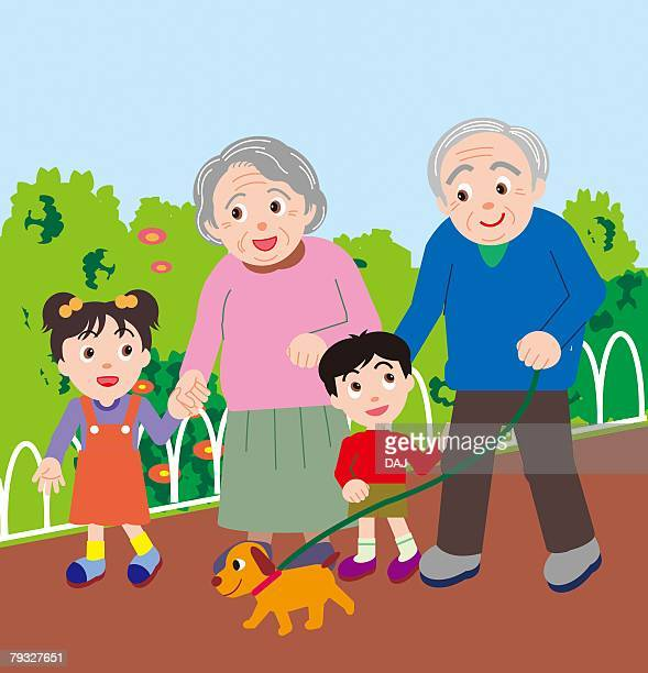 senior couple walking with grandchildren and a dog, front view - dog leash stock illustrations