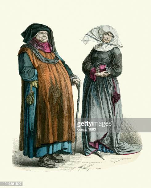 senior german patrician couple, medieval fashion late 15th century - medieval shoes stock illustrations