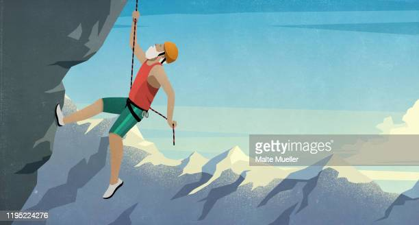 senior male mountain climber scaling rock face - strength stock illustrations