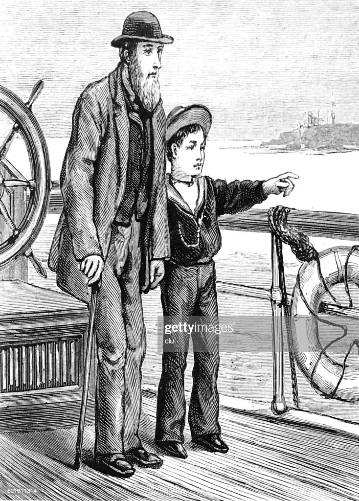 Senior man an boy standing on board of the steamer : stock illustration